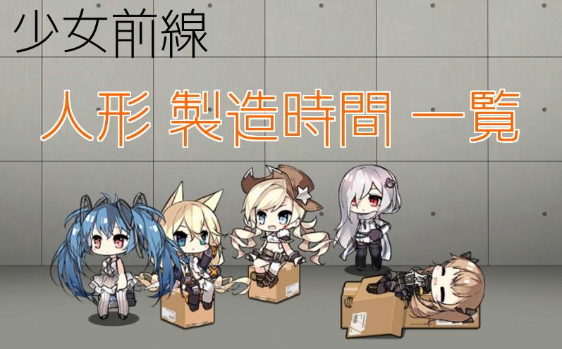 【ドルフロ】人形製造時間一覧・通常製造・重型製造で出現する人形まとめ【少女前戦】